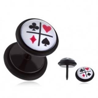 Čierny fake plug do ucha s PVD povrchovou úpravou - kartové symboly