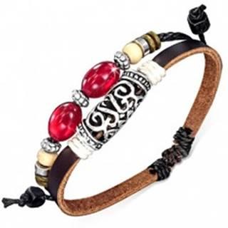 Dvojitý náramok na ruku - hnedý pás, šnúrka, ozdobný valček, korálky