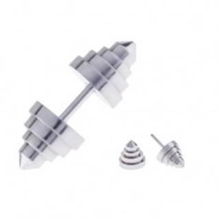 Falošný plug do ucha z ocele v tvare pyramídovo zrezaného kužeľa
