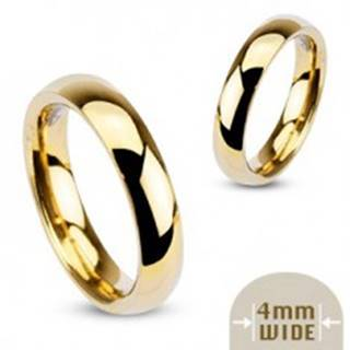 Hladká oceľová obrúčka v zlatej farbe - 4 mm - Veľkosť: 48 mm