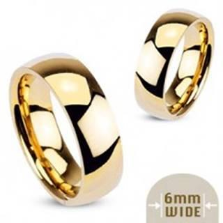 Hladká oceľová obrúčka v zlatej farbe - 6 mm - Veľkosť: 49 mm