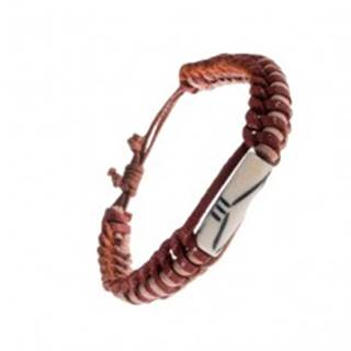 Kožený náramok - dvojfarebné prúžky, korálka s výrezmi