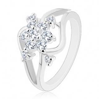 Ligotavý prsteň striebornej farby, rozdelené zvlnené ramená, číry kvet - Veľkosť: 52 mm