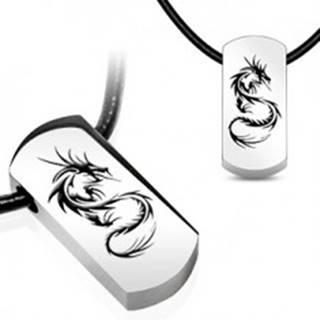 Náhrdelník - oceľový prívesok, čínsky drak