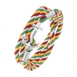 Náramok na obtočenie okolo ruky, šnúrky v štyroch farbách, lesklá kotva