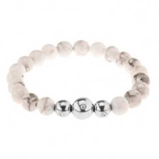 Náramok na ruku, bielo-sivé mramorové guličky, oceľové korálky so zirkónom