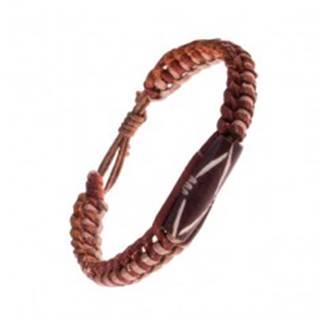 Náramok na ruku z kože - dvojfarebný, pletený, valček s výrezmi