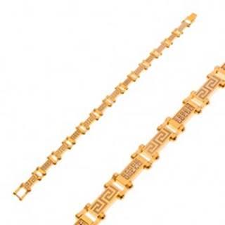 Náramok z chirurgickej ocele zlatej farby s gréckym kľúčom a zirkónmi