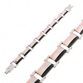 Náramok z ocele 316L, trojfarebné obdĺžnikové články s vypuklým stredom
