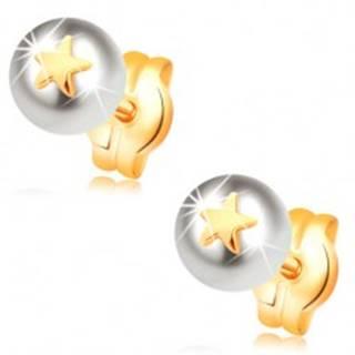 Náušnice zo žltého 14K zlata -  biela perla s malou lesklou hviezdičkou