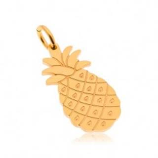 Oceľový prívesok v zlatom odtieni, lesklý ananás, gravírované detaily