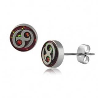 Okrúhle oceľové náušnice  - znak 69, viacfarebné trblietky