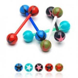 Piercing do jazyka - farebné hviezdy - Farba piercing: Červená-Zelená