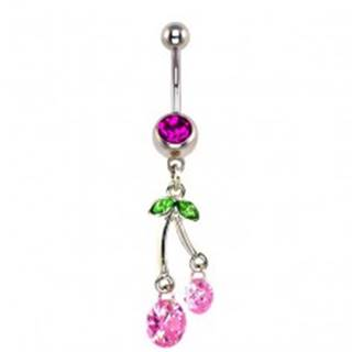 Piercing do pupku - visiace ružové čerešne, zirkóny