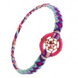 Pletený vzorovaný náramok, okrúhly prívesok, pavučinka z nití s korálkou