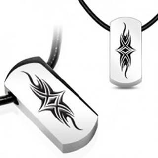 Prívesok na šnúrke - tehlička s tribal symbolom