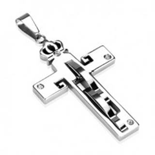 Prívesok z ocele - kríž a koruna, zirkóny