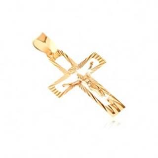 Prívesok zo 14K zlata - vykrojený kríž s Kristom a lesklými lúčmi
