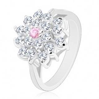 Prsteň s rozdelenými ramenami, veľký číry kvet s ružovým zirkónom v strede - Veľkosť: 49 mm