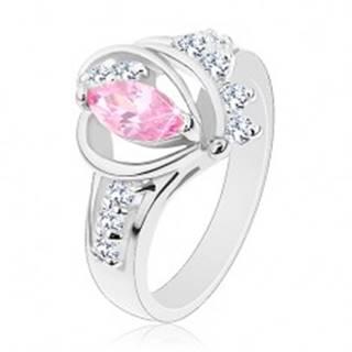 Prsteň s rozdelenými zirkónovými ramenami, veľké ružové zrnko, oblúčiky - Veľkosť: 49 mm
