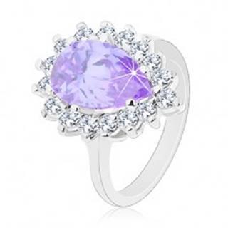 Prsteň striebornej farby, veľká zirkónová kvapka fialovej farby, číry lem - Veľkosť: 48 mm