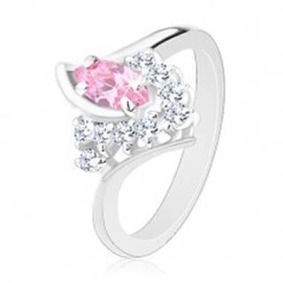 Prsteň v striebornom odtieni so zahnutými ramenami, ružovo-číre zirkóny - Veľkosť: 49 mm