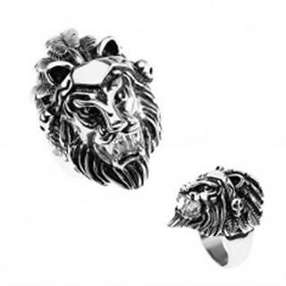 Prsteň z ocele 316L, strieborná farba, hlava leva, čelenka s pierkami, lebky - Veľkosť: 56 mm