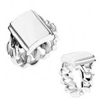 Prsteň z ocele, strieborná farba, ramená s očkami, zrkadlovolesklý obdĺžnik - Veľkosť: 55 mm