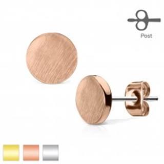 Puzetové oceľové náušnice, plochý kruh, matný hladký povrch - Farba: Medená