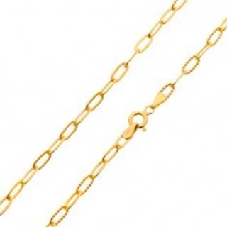 Retiazka v žltom 14K zlate - hladké a vrúbkované väčšie oválne očká, 500 mm