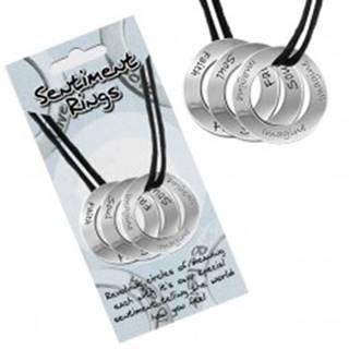 """Šnúrkový náhrdelník - tri kruhové prívesky """"Soul, Faith, Imagine"""""""