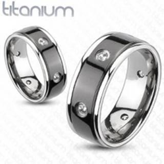 Titánový prsteň - čierny pás, vsadené zirkóny - Veľkosť: 49 mm