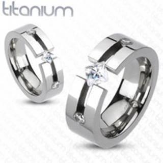 Titánový prsteň - výrez, štvorcový a okrúhle zirkóny - Veľkosť: 50 mm