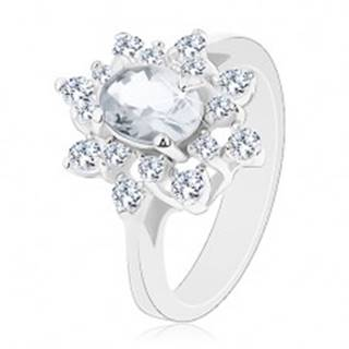 Trblietavý prsteň so strieborným odtieňom, kvet s čírymi zirkónmi - Veľkosť: 52 mm