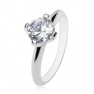 Zásnubný prsteň - striebro 925, veľký číry zirkón, lesklé skosené ramená - Veľkosť: 51 mm