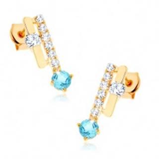 Zlaté náušnice 375 - dva pásiky, ligotavý modrý topás, číre zirkóny