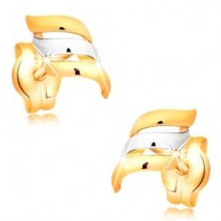 Zlaté náušnice 585 - dvojfarebné, špirálovito zahnuté línie, vysoký lesk