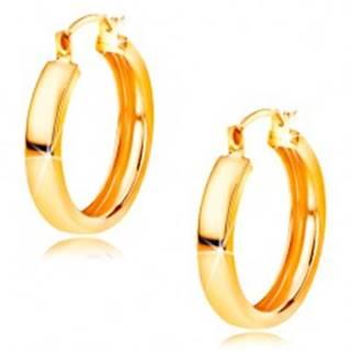 Zlaté náušnice 585 - kruhy s lesklým hladkým povrchom, 16 mm