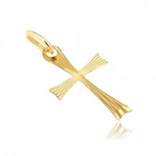 Zlatý prívesok 585 - krížik s rozdvojenými ramenami s lúčmi