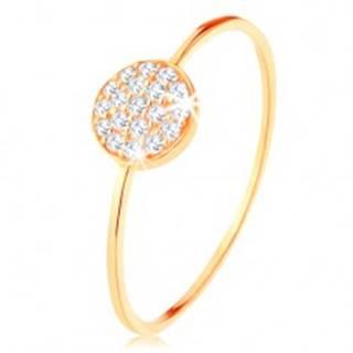 Zlatý prsteň 585 - tenké lesklé ramená, kruh vykladaný čírymi zirkónmi - Veľkosť: 50 mm