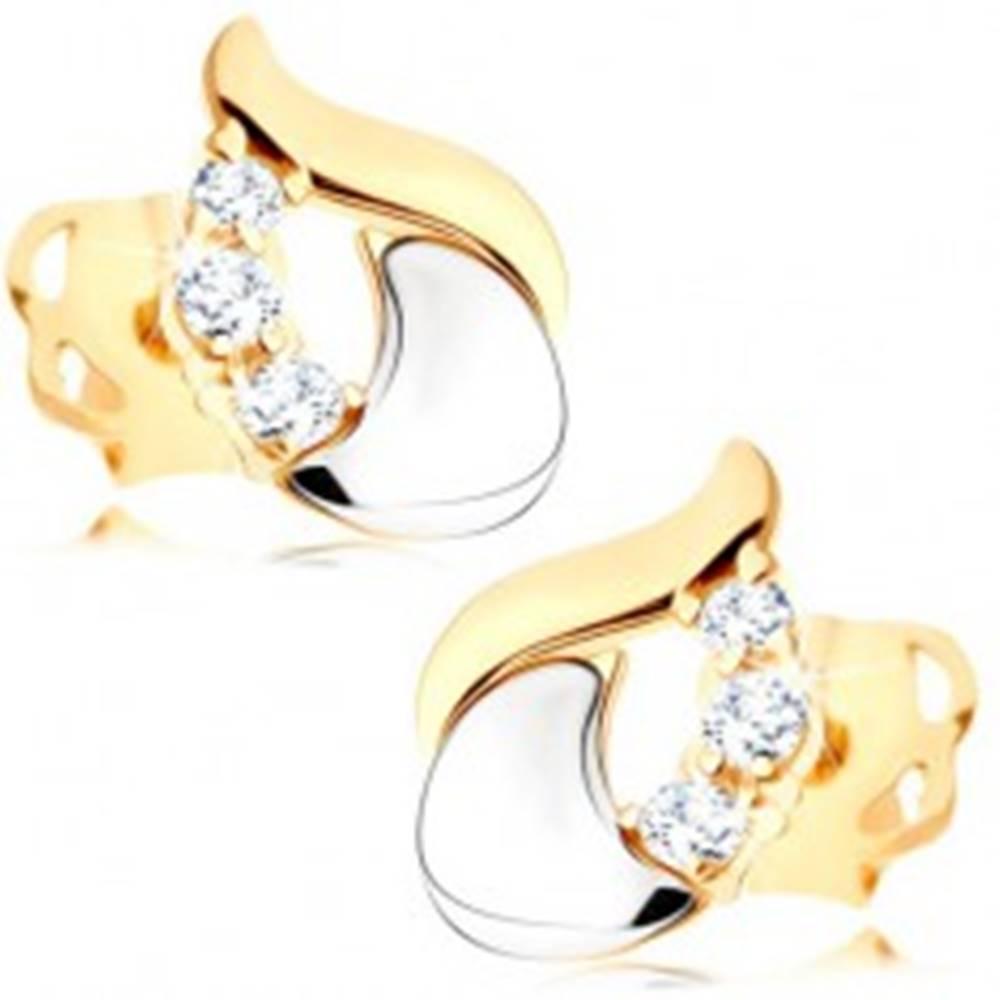 Šperky eshop Diamantové náušnice - lesklá slza zo 14K bieleho a žltého zlata, tri číre brilianty