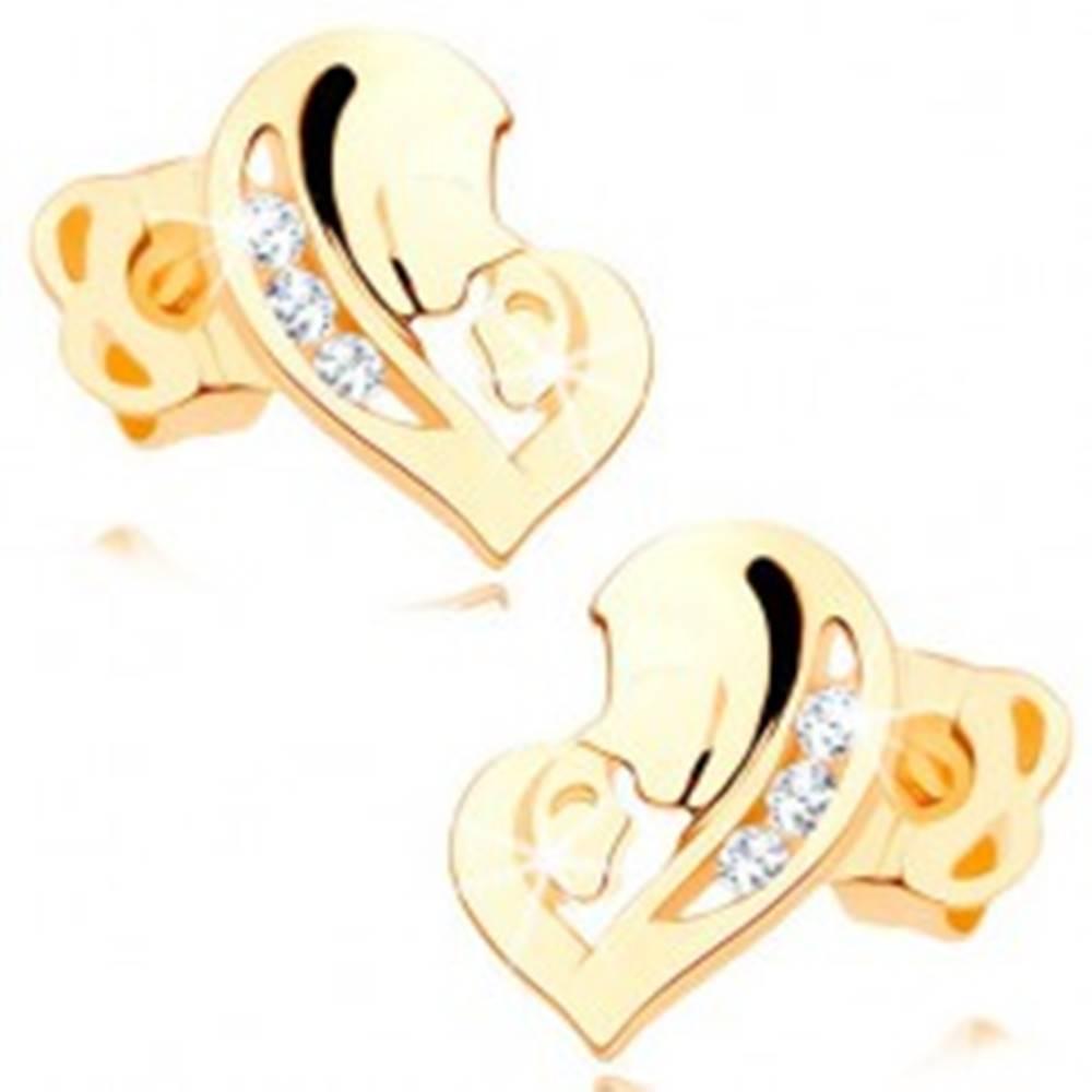Šperky eshop Diamantové náušnice v žltom 14K zlate - srdce z dvoch tvárí, číre brilianty