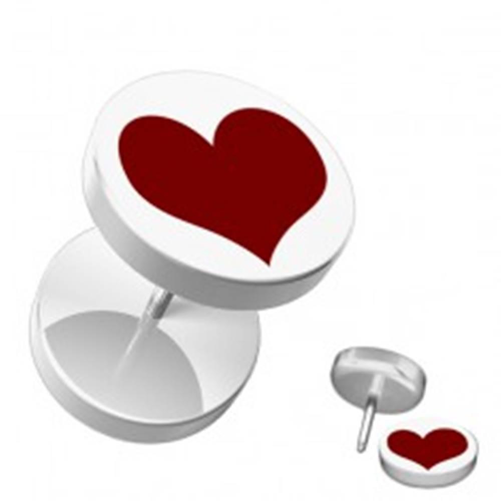 Šperky eshop Fake akrylový piercing do ucha - okrúhly, biely s červeným srdcom