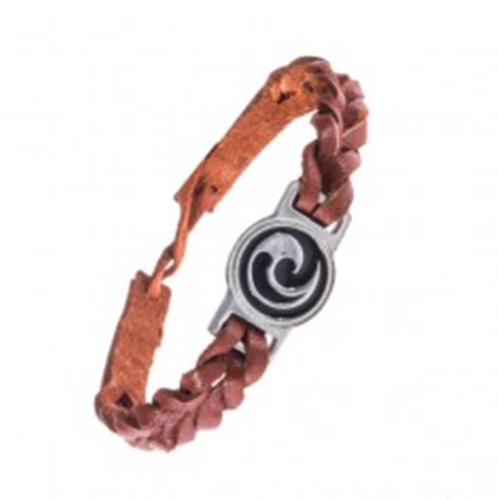Šperky eshop Karamelovo hnedý náramok - kožený, maorský symbol Koru