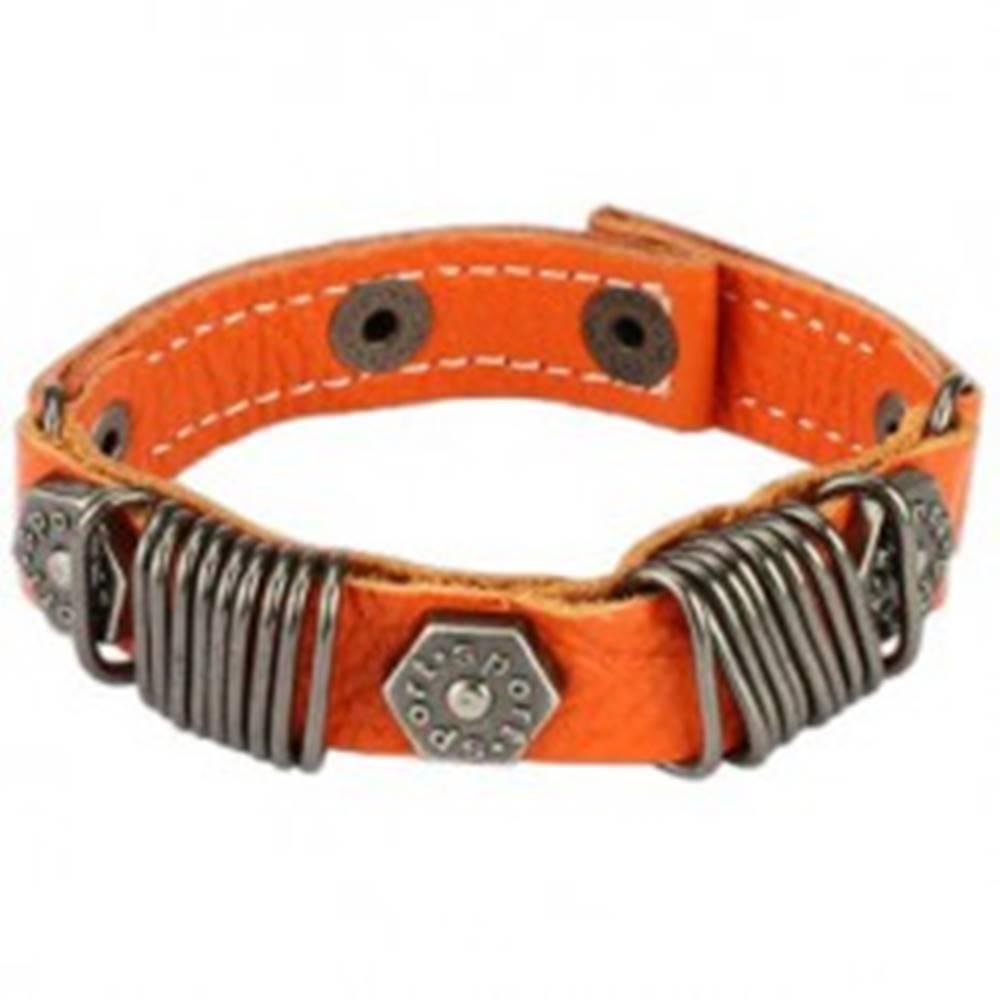 Šperky eshop Kožený náramok - kovové krúžky, vybíjaný - Farba: Biela