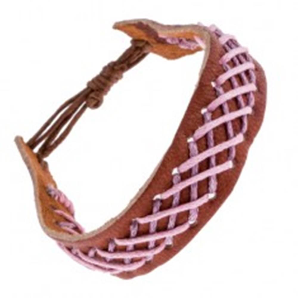 Šperky eshop Kožený náramok na ruku - svetlohnedý, s vpleteným vzorom