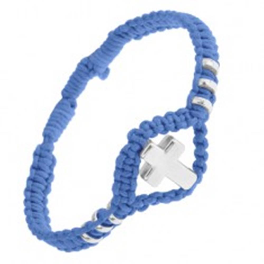 Šperky eshop Modrý pletený náramok, lesklý oceľový kríž a kolieska, nastaviteľný