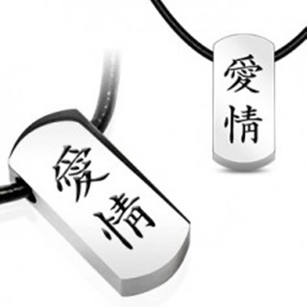 Šperky eshop Náhrdelník s oceľovým príveskom - čínske znaky, kožená šnúrka