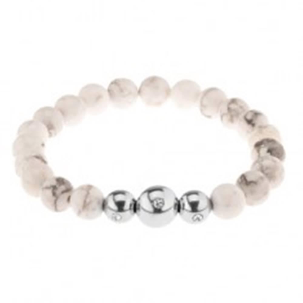 Šperky eshop Náramok na ruku, bielo-sivé mramorové guličky, oceľové korálky so zirkónom