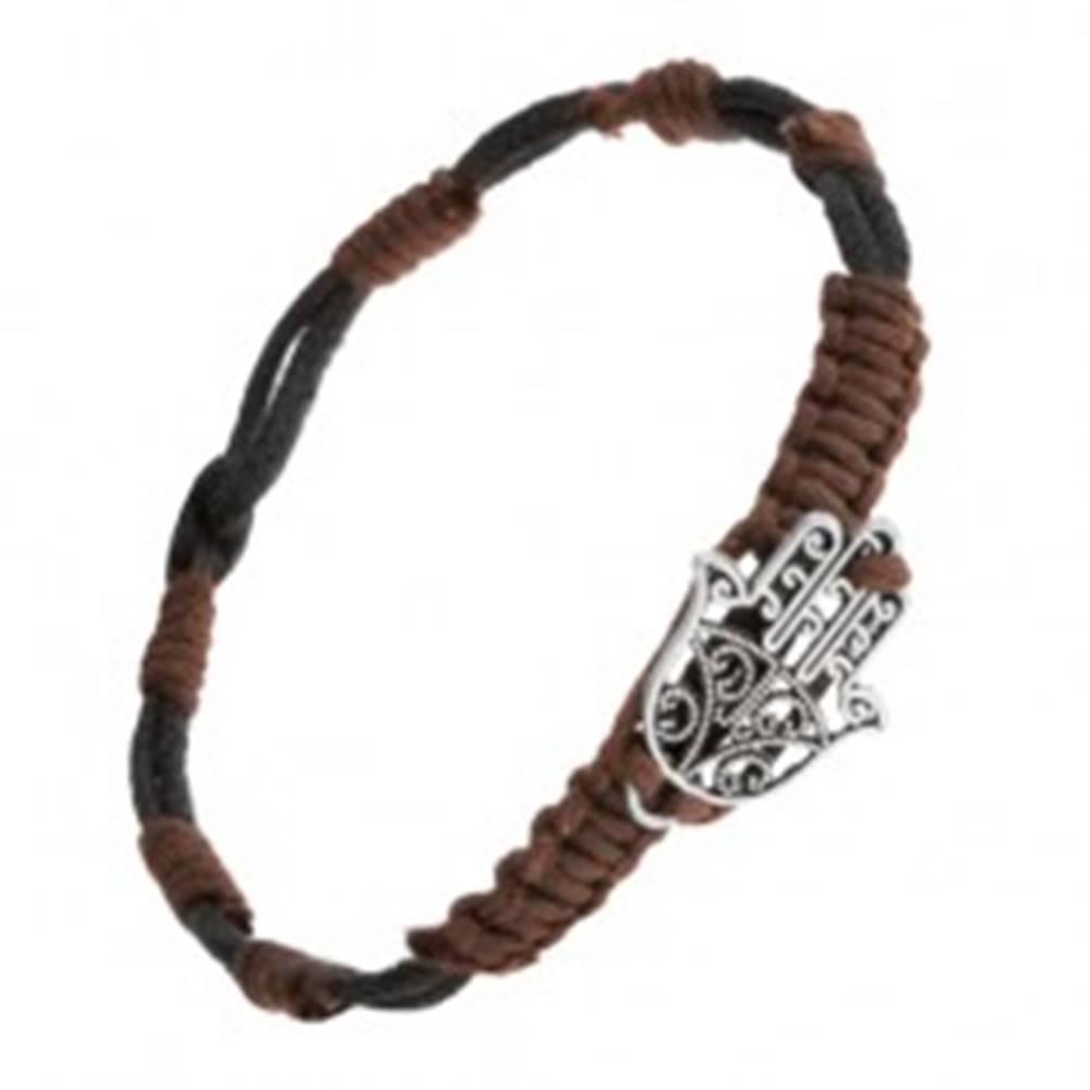 Šperky eshop Náramok na ruku s príveskom vyrezávanej ruky Fatimy, nastaviteľný